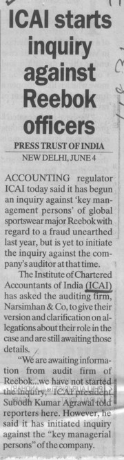 Inquiry against Reebok officers (Institute of Chartered Accountants of India (ICAI))