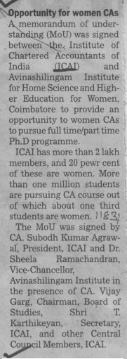 Opportunity for women CAs (Institute of Chartered Accountants of India (ICAI))