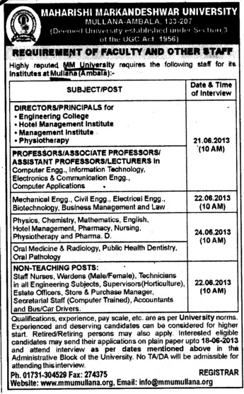 Director,Principal and Professor (Maharishi Markandeshwar University)