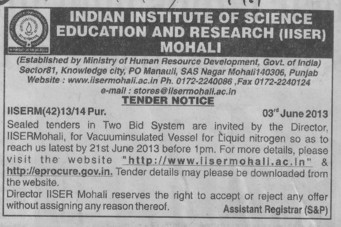 Vaccuminsulated vessel for liquid nitrogen (Indian Institute of Science Education and Research (IISER))