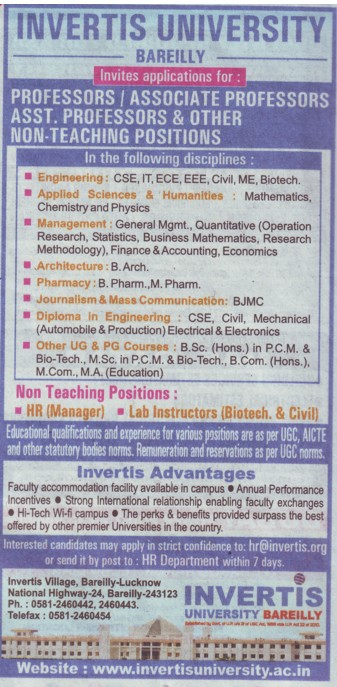 Lab Instructors (Invertis University)