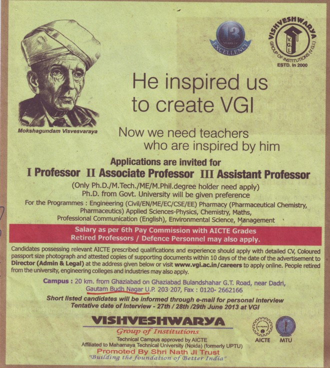Asstt and Associate Professor (Vishveshwarya Group of Institutions (VGI))