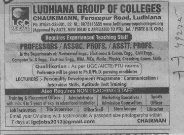 Associate Professor (Ludhiana Group of Colleges (LGC) Chowkimann)