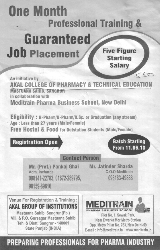 Professional training with Meditrain Pharma Business school (Akal College of Pharmacy and Technical Education)