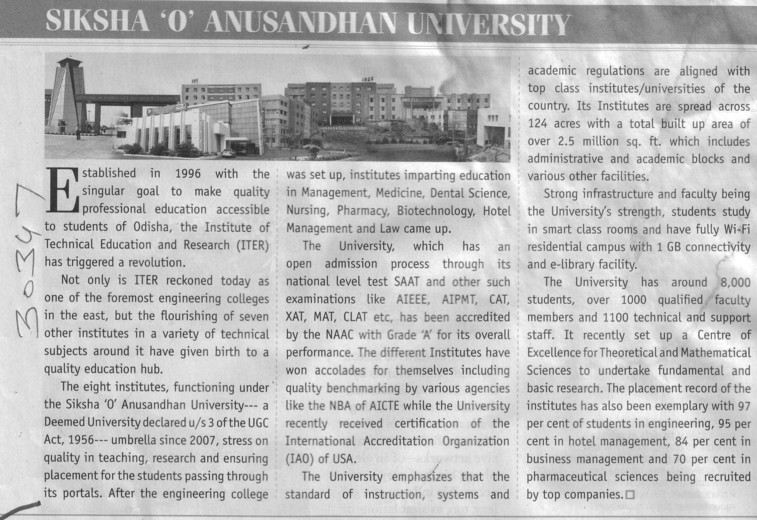 Profile of SOAU (Siksha O Anusandhan University)