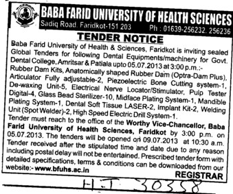 Dental Equipments and machinery (Baba Farid University of Health Sciences (BFUHS))