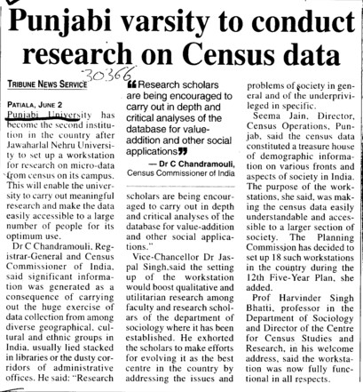 Punjabi Varsity to conduct research on Census data (Punjabi University)