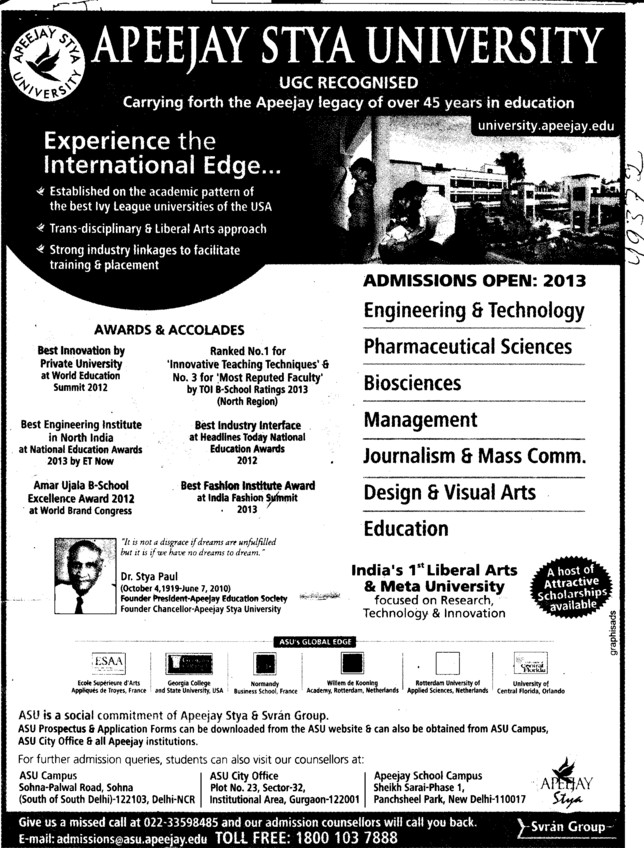 Mgmt, Engg and Educational courses (Apeejay Stya University)