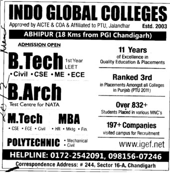BTech, B Arch and MBA (Indo Global Group of Colleges)