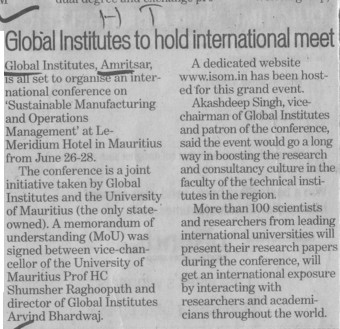 Global Institutes to hold International test (Global Institutes Group)