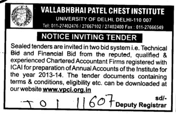 Technical and Financial bid (Vallabhbhai Patel Chest Institute)
