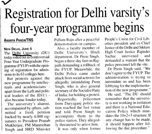 Registration for DU 4 years programme begins (Delhi University)