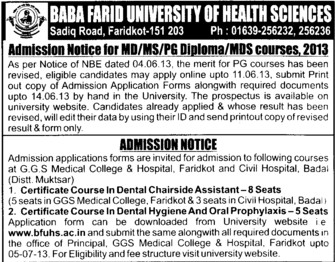 MDS and PG Diploma (Baba Farid University of Health Sciences (BFUHS))