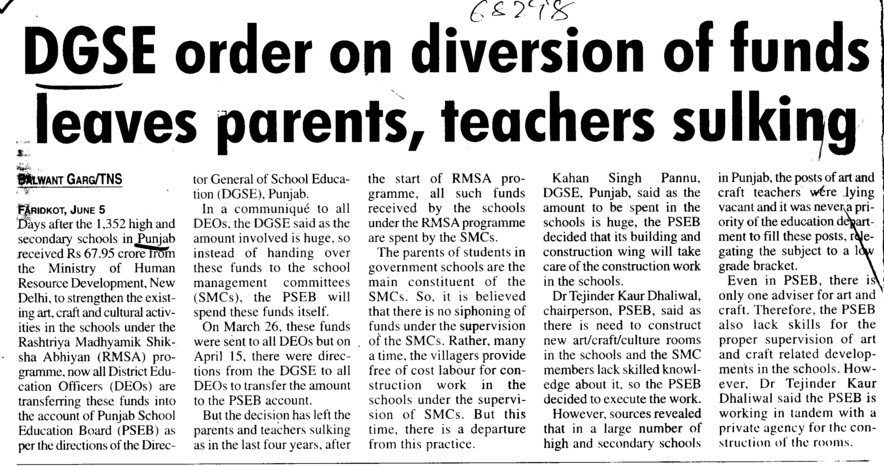 DGSE order on diversion of funds leaves parents (Director General School Education DGSE Punjab)