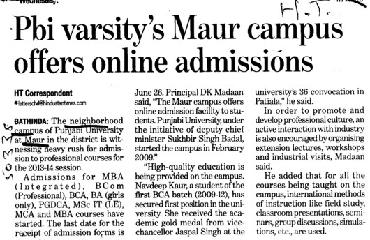 Online admissions (Punjabi University Neighbourhood Campus)