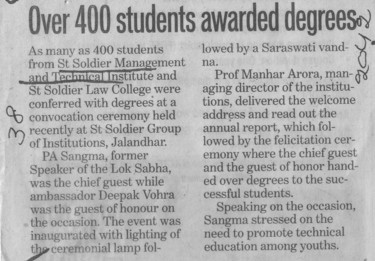 Over 400 Students awarded degrees (St Soldier Management and Technical Institute)