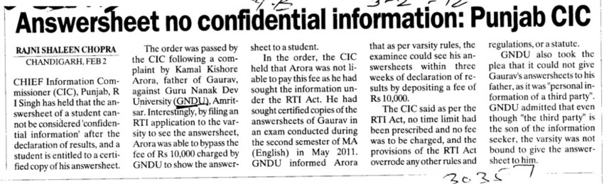Answersheet no confidential information, Punjab CIC (Guru Nanak Dev University (GNDU))