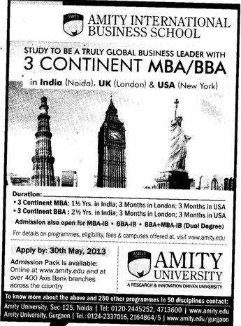 BBA and MBA (Amity University Manesar)