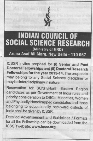 Doctoral Research (Indian Council of Social Science Research)