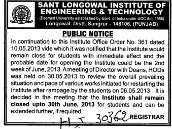 Institute shall remain closed upto 30th June (Sant Longowal Institute of Engineering and Technology SLIET)