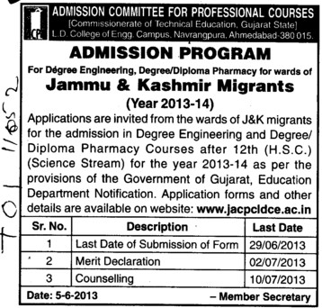 Pharmacy and Engg courses (LD College of Engineering)