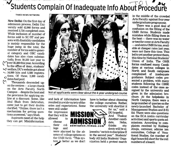 Students complain of inadequate info about procedure (Delhi University)