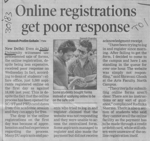 Online registration get poor response (Delhi University)