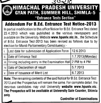 BEd Entrance test (Himachal Pradesh University)