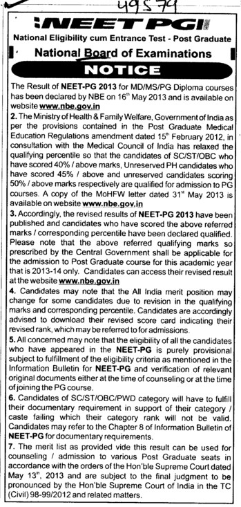 NEET PG 2013 (National Board of Examinations)