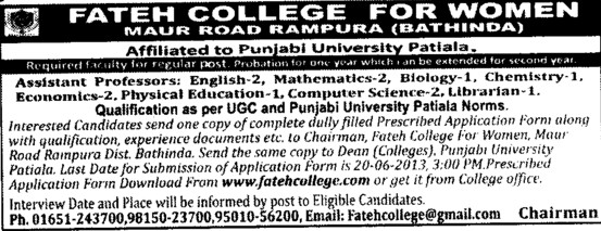 Asstt Professor and Librarian (Fateh College for Women)