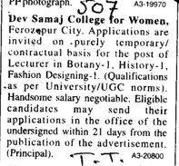 Lecturer on temporary basis (Dev Samaj College for Women)