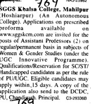 Asstt Professor on regular basis (SGGS Khalsa College)