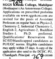 Asstt Professor for PCM (SGGS Khalsa College)