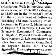 Principal and Lecturer (SGGS Khalsa College)