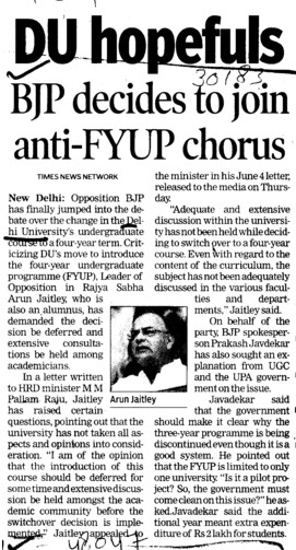 BJP decides to join anti FYUP chorus (Delhi University)