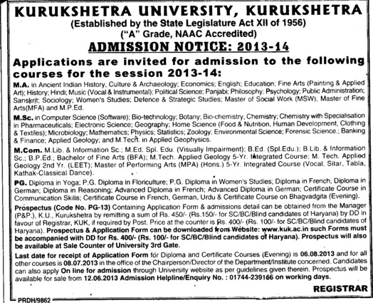 MA, MSc and MCom (Kurukshetra University)