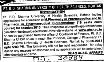 m Pharmacy (Pt BD Sharma University of Health Sciences (BDSUHS))