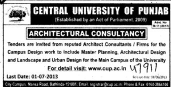 Architectural consultancy (Central University of Punjab)