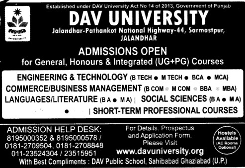 BBA, BCA, BTech and MTech (DAV University)