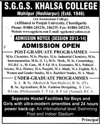 MSc in Chemistry and Instrumentation (SGGS Khalsa College)