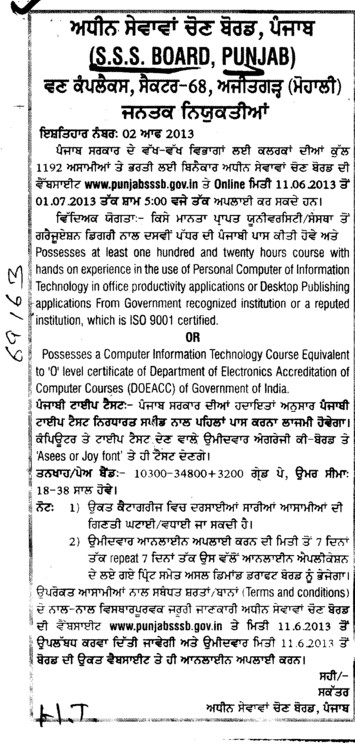 Clerk posts (Punjab Subordinate Services Selection Board (PSSSB))