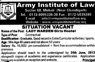 Lady warden (Army Institute of Law)