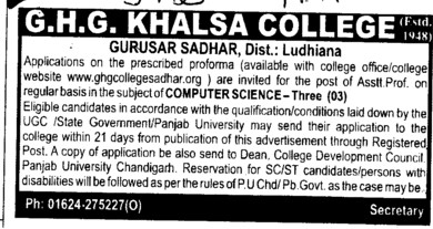Asstt Professor for computer science (GHG Khalsa College)
