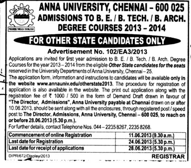 BE, BTech and B Arch (Anna University)