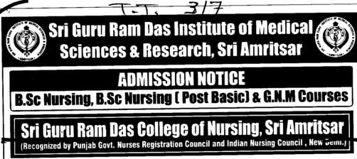 BSc Nursing (Sri Guru Ram Das Institute of Medical Sciences and Research)