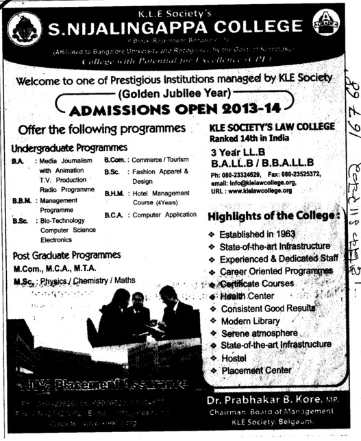 BA, BSc and MSc (S Nijalingappa College Rajajinagar)