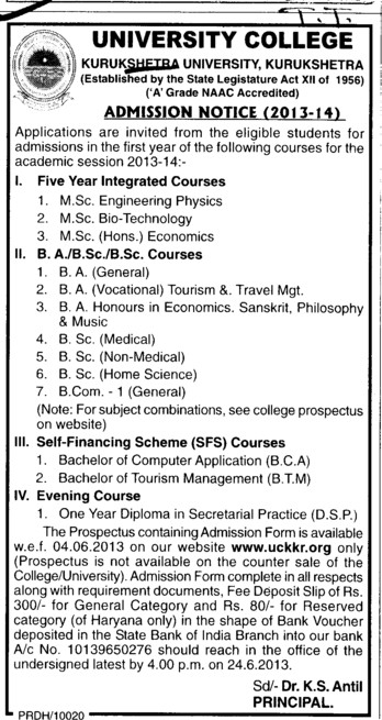 BA and BSc courses (Kurukshetra University)
