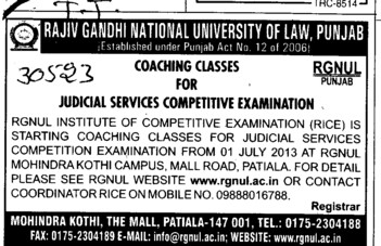 Coaching for Judicial Services competitive examination (Rajiv Gandhi National University of Law (RGNUL))