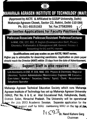 Asstt and Associate Professor (Maharaja Agrasen Institute of Technology)