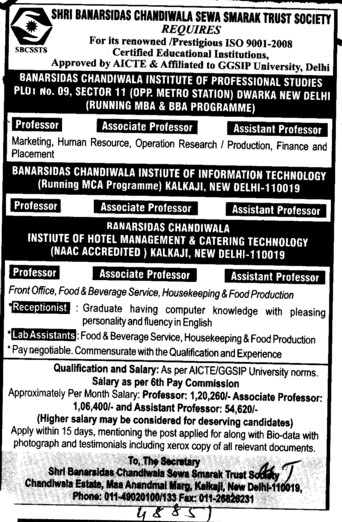 Asstt Professor and Lab Technician (Banarsidas Chandiwala Institute of Hotel Management and Catering Technology)